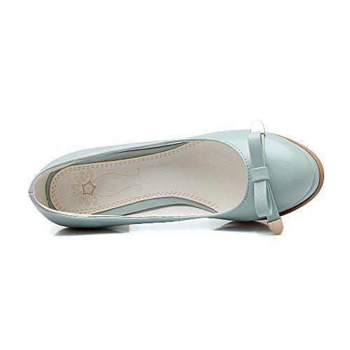 VogueZone009 Femme à Talon Haut Pu Cuir Couleur Unie Tire Rond Chaussures Légeres Bleu
