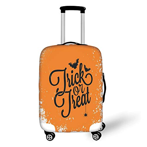 Travel Luggage Cover Suitcase Protector,Vintage Halloween,Trick or Treat Halloween Theme Celebration Image Bats Tainted Backdrop Decorative,Orange Black,for TravelM 23.6x31.8Inch