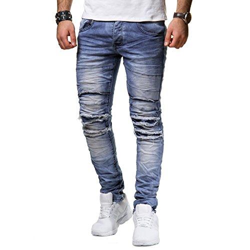 New Stone Herren Jeans Hose Denim Slim Fit Grau Verwaschen Stonewashed ZS523 ZS523 ZS551, Farbe:Blau, Hosengröße:W36 L32