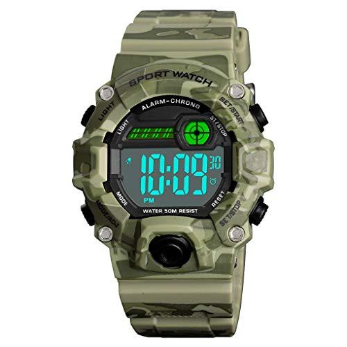 IW.HLMF Digitale Kinderuhren Outdoor Sport wasserdichte Elektronische EL-Licht mit Alarm Stoppuhr Leuchtende Armbanduhr für Kinder Jungen Mädchen Alter 3-13,D