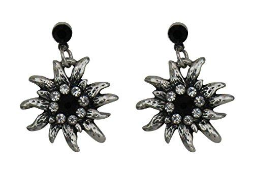 Trachtenschmuck Dirndl Ohrstecker Edelweiss Silberfarben mit Strass Crystal klar und Jet schwarz Ohrringe