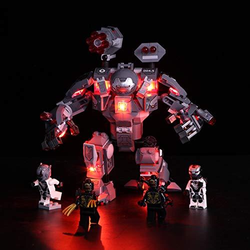 GODNECE Éclairage pour Lego Kit LED pour Lego Jeu De Lumières pour Lego 76124 Marvel Super Heroes - L'armure de War Machine Modèle, (Modèle Non Inclus)