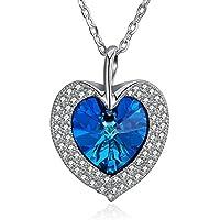 OMZBM S925 Sterlingsilber Hypoallergen Schönes Leben Blau Herzförmigen Österreichischen Kristall Anhänger Einstellbare Halskette Für Mädchen