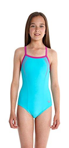 Speedo - Traje de baño para niña, color azul (bali blue/diva), talla 12 años (152 cm )