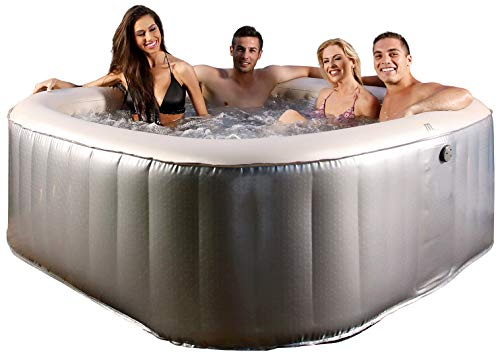 Miweba MSpa aufblasbarer Whirlpool Outdoor - 125 Massagedüsen + 6 Hydromassage Düsen - 6 Personen - Tüv GS geprüft - Elite Bliss E-BL06 Edition