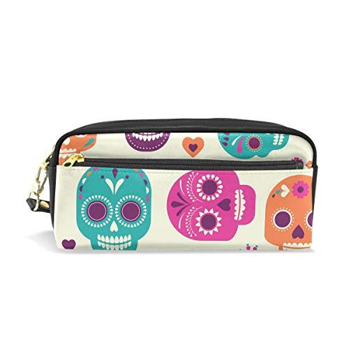 Colorful Skulls Süße Bleistift Tasche Schutzhülle für Kinder Jungen groß Leder Tasche mit Reißverschluss Schule Student Kosmetik Make-up
