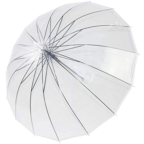 ThreeH Automático Abierto Transparente Paraguas De Viaje A Prueba De Viento Extra Grande Paraguas Cúpula KS10,White