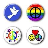 4 Peace Buttons Ansteckbuttons #4 (2,5cm)