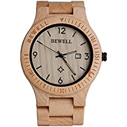 Wood Watch, Hansee Men's Watches by Bewell, Analog Quartz Movement Day Display Vintage Wooden Watch (B)
