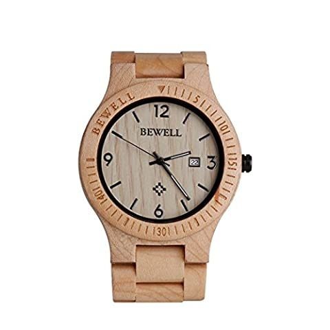 Wood Watch, Hansee montres pour homme par Bewell, Mouvement à quartz analogique jour Affichage en bois vintage montre (B)