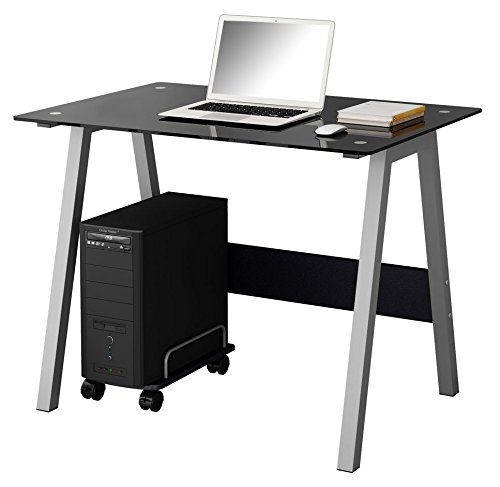 SixBros. Mesa de ordenador Vidrio/Negro - CT-3359/36 - Vidrio negro -