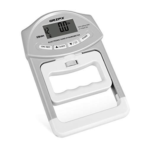 """Dinamómetro de mano digital GRIPX: mida con precisión el poder de su agarre manual Presupuesto: Capacidad: 198 lb / 90 kg; División: 0.2lbs / 0.1kgs. Pantalla: """"Pantalla LCD de 2,05 x 0,91 pulgadas / 52 x 23 mm. Tamaño: 7.7 x 4.9 x 1.2 pulgadas / 195..."""