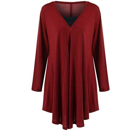 Yogogo Femmes Solide Manche Longue Grande Taille DéContractéE Chemisier En Vrac Coton Tops T-Shirt red