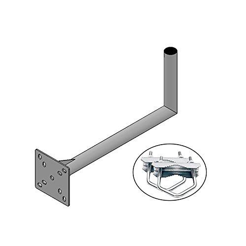 HD-LINE Geländerhalterung 25cm x 55cm Wand & Balkon Montage mit Schelle (horizontal oder vertikal) Halter – Mastroh Sat Antennenmast Balkon Balkonhalterung Satellitenschüssel - 2