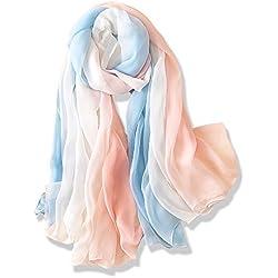 YFZYT Pañuelo de seda Mujer Mantón Bufanda Moda Chals Señoras Elegante Color de Degradado Estolas Fular para Fiesta, Playa, Uso Diario - Degradado de Color#5