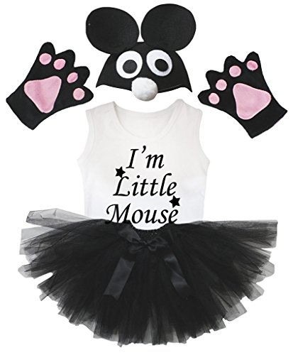 Bin Ein Kostüm Ich Maus - Petitebelle Ich bin Mäuschen Hemd Schwarzes Hut-Handschuh-Rock-Mädchen 4pc Kostüm 1-2 Jahre Schwarz-Weiss