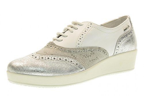 ENVAL SOFT scarpe donna inglesine con zeppa 79372/00 BIANCO/ARGENTO Bianco-argento
