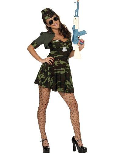 Smiffys Karneval Damen Kostüm Militär Babe Soldatin Camouflage Größe M 40/42