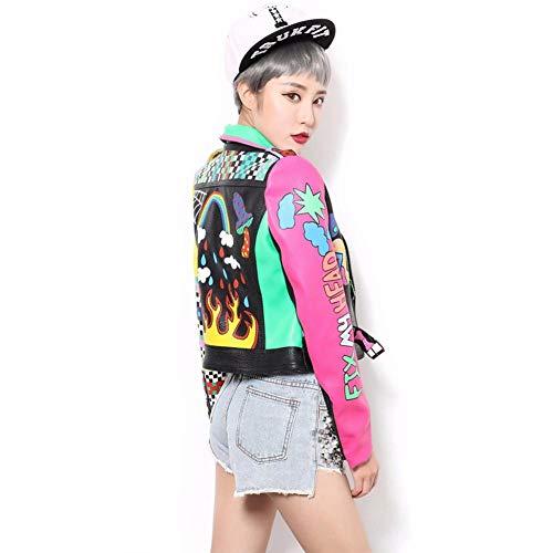 WLXFVNYBD Bunter Regenbogen-Jacken-Frauen-Neuer Art- und Weisedruckgelbhülse Straßen-Kurzschluss-Lederjacke-Reißverschluss-Motorrad-Mantel @ XS