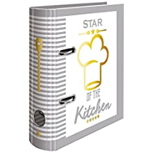 Herma 15416 Recipe Cook Book Selberschreiben, DIN A5, Made from Strong Cardboard with Gold Foil Embossed 5-Piece Register 70 mm wide, 1 File