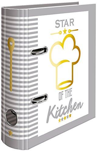 HERMA 15416 Rezeptordner Kochbuch zum selberschreiben, DIN A5, aus stabilem Karton, mit Goldfolienprägung und 5-tlg. Register, 70 mm breit, 1 Ordner