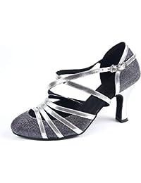 Syrads Zapatos de Baile Latino para Mujer Danza de Tango Samba Vals de  Salón Sandalia de 6bf406f7874