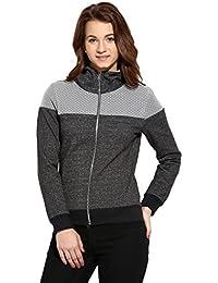 Campus Sutra Women Zipper Closure with Polka Designed Sweatshirt