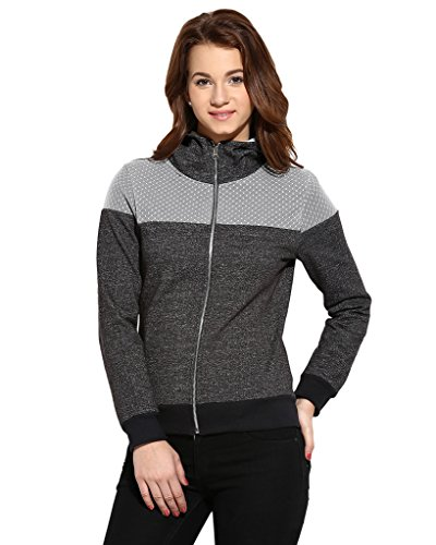 Campus Sutra Women's Cotton Quilted Hoodie (AW16_ZHFNT_W_PLN_CHGR_M)