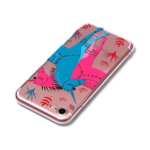 Slynmax Ultra Thin Trasparente TPU Cover per iPhone 7 / iPhone 8 Custodia Silicone Caso Colorato Molle di Morbido Sottile Gel Transparent Bumper Case Protettiva Caso Chiaro Copertura Slim Thin Skin Sh unicorno
