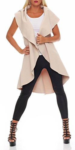 malito lungo Cappotti Oversized-Design Nobilmente Gilet Giacca Bolero Pulsanti Cape Cardigan Oversize Maglione Casual Basic 7010 Donna Taglia Unica (beige)