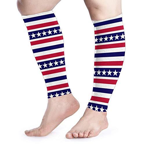 uytrgh American Patriotic Stars and Stripe Calf Compression Sleeve 1 Pair Leg Socks Sports Running -