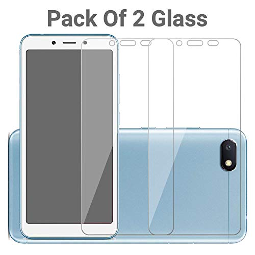 POPIO Tempered Glass Screen Protector for Xiaomi Redmi 6A / Redmi 6 / Redmi 7A (Transparent) Full Screen Coverage (except edges) with Easy Installation Kit, Pack of 2