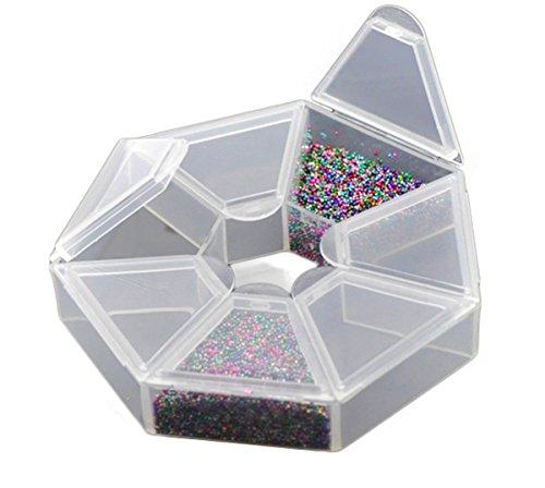 HOUSWEETY 2 Boites de Rangement pour perle Plastique avec 7 Compartiments 8.5 x 8.5 x 1.7cm