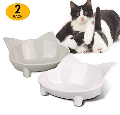Xiruisz Futternapf Katzennäpfe, 2 Stück rutschfeste Futterschüssel, Katzen Fressnapf Set, Wasser Fütterung Schüssel für Katze (Weiß-Grau)
