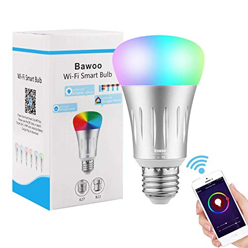 Lampadina Smart Lampadina WIFI Led E27 RGBW 7W, Bawoo Lampadina Intelligente Colorata 16 Milioni Timer Bulb Smart WIFI Amazon Alexa Google Home iOS Android APP Wifi Lampadine Dimmerabile Luce Fredda