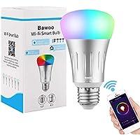Bombilla Inteligente Wifi LED E27 Bawoo 7W RGBW Lámparas Color de Intensidad Regulable 16 Millones de Colores Trabajo con Amazon Alexa Google Casa Smartphone Control Remoto a Través de Aplicación No Necesita Hub
