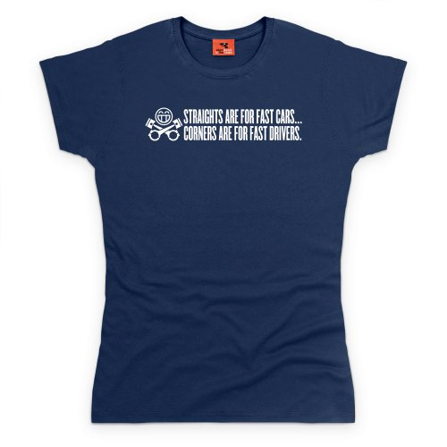 PistonHeads Straights T-Shirt, Damen Dunkelblau
