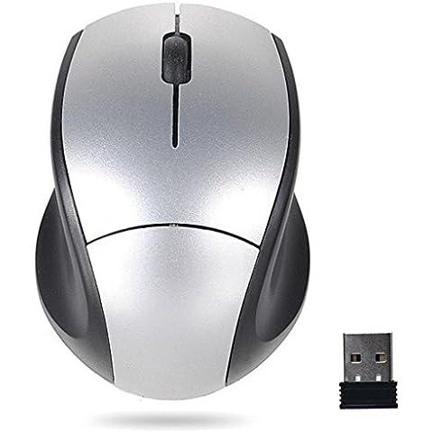 Internet Receptor USB de 2.4GHz ratón óptico del ratón sin hilos sin cuerda del ordenador PC para el ordenador portátil (Plata)
