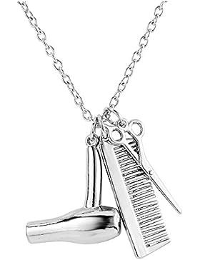 JOVIVI Modeschmuck Legierung Anhänger Metall Pendant Metall mit Kette Haartrockner Schere Kamm Silber