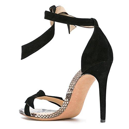 Damen Sandalen Open Toe High-Heels Stiletto Knöchelriemchen Mehrfarbig