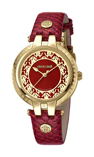 Roberto cavalli pizzo da donna Swiss Quartz Red Leather Watch RV1L051L0046