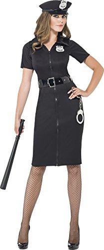 Cutie Cop Kostüm - Smiffys 43864X1 Constable-Cutie-Kostüm, XL, schwarz