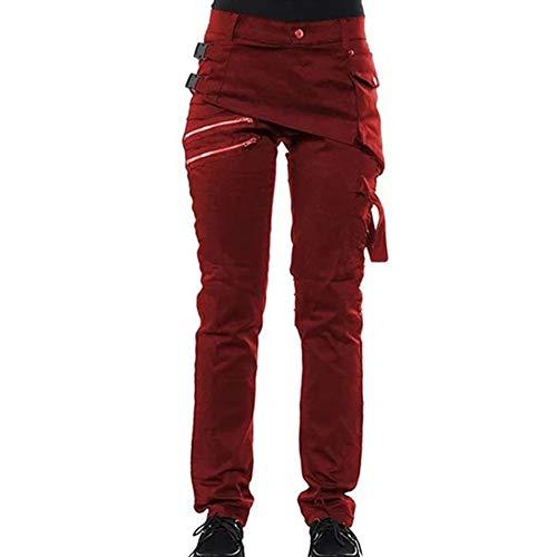 BANGBIU - Pantalones góticos para Mujer, Color sólido, con...