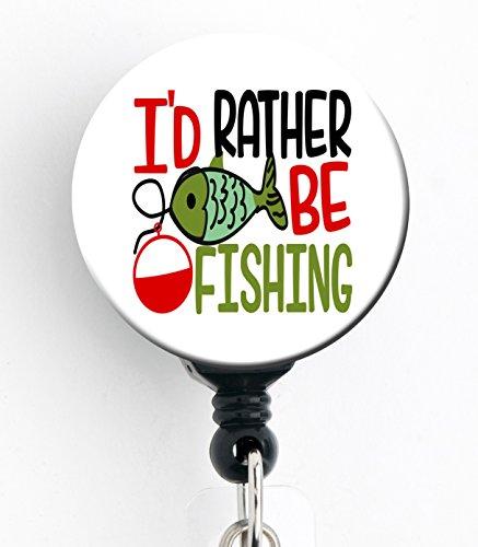 I 'd Rather Be Fishing-Retractable Badge Reel mit Clip und extra langer 86,4cm Seil mit Drehgelenk, Badge Holder/Animal Lover/Hundeliebhaber/Tierarzt/VET Tech (Badge Reel Für Männer)