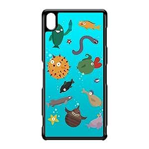 Aquarium Coque Rigide Plastique Noire Snap-On Protection Arrière pour Sony Xperia Z3 de Miki Mottes + Livré avec une protection d'écran GRATUITE