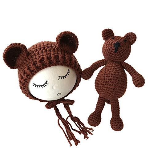 Kostüm Für Babys Neugeborene - De feuilles Neugeborenen Fotografie Requisiten Kostüm Handarbeit Gehäkelte Mütze Mütze mit Bär Spielzeug