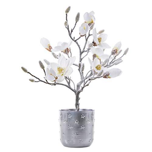 Pureday Weihnachtsdeko – Kunstpflanze Magnolienbaum Frosty – Kunstblume Magnolie – Weiß