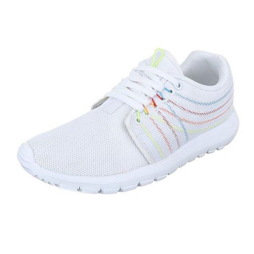 Ital-Design Sportschuhe Damen-Schuhe Geschlossen Schnürer Schnürsenkel Freizeitschuhe Weiß, Gr 39, S38005-