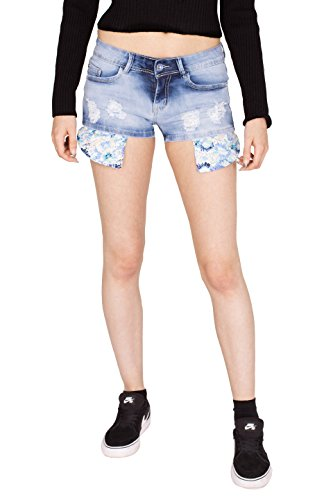 Noroze Damen Ripped Shorts Zerissene Blumen Verziertes Denim Denim Hot Pants Blau E221