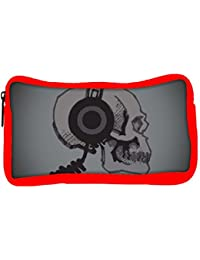 Snoogg Eco Friendly Canvas Skull With Headphones Designer Student Pen Pencil Case Coin Purse Pouch Cosmetic Makeup...